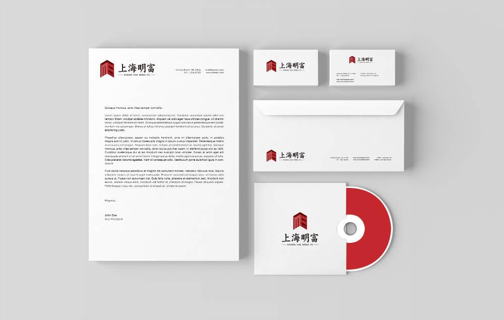 上海明富建筑宣传企业logo设想制造