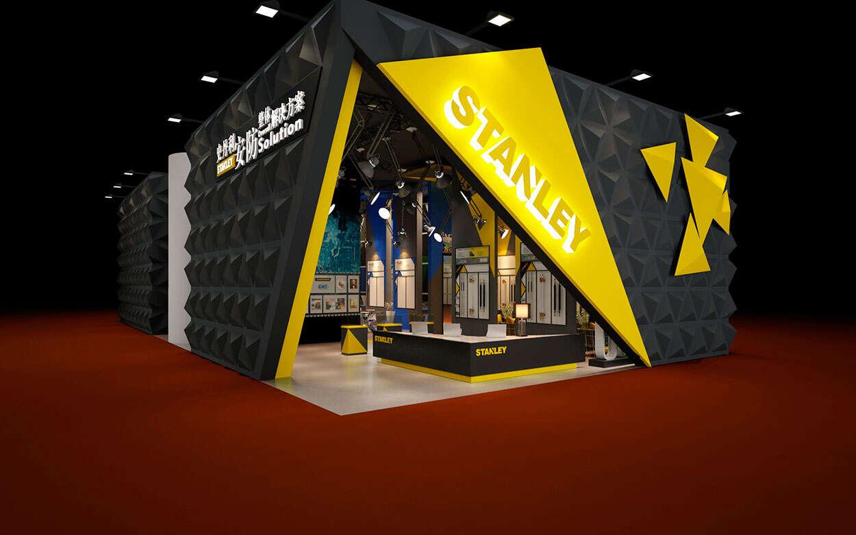 公司装饰博览会展厅设计-史丹利安防高端品牌SI空间设计